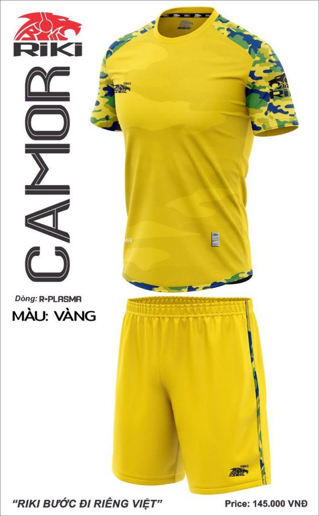 Áo bóng đá không logo Riki Camor màu vàng mới nhất năm 2020