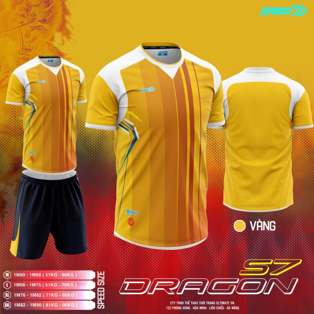 Áo bóng đá không logo Speed Dragon màu vàng mới nhất 2020