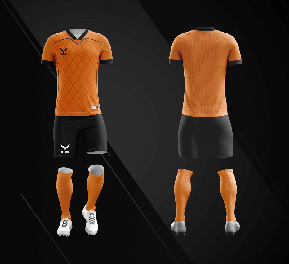 Áo bóng đá không logo Nidu N3 màu cam vải thun thái cao cấp