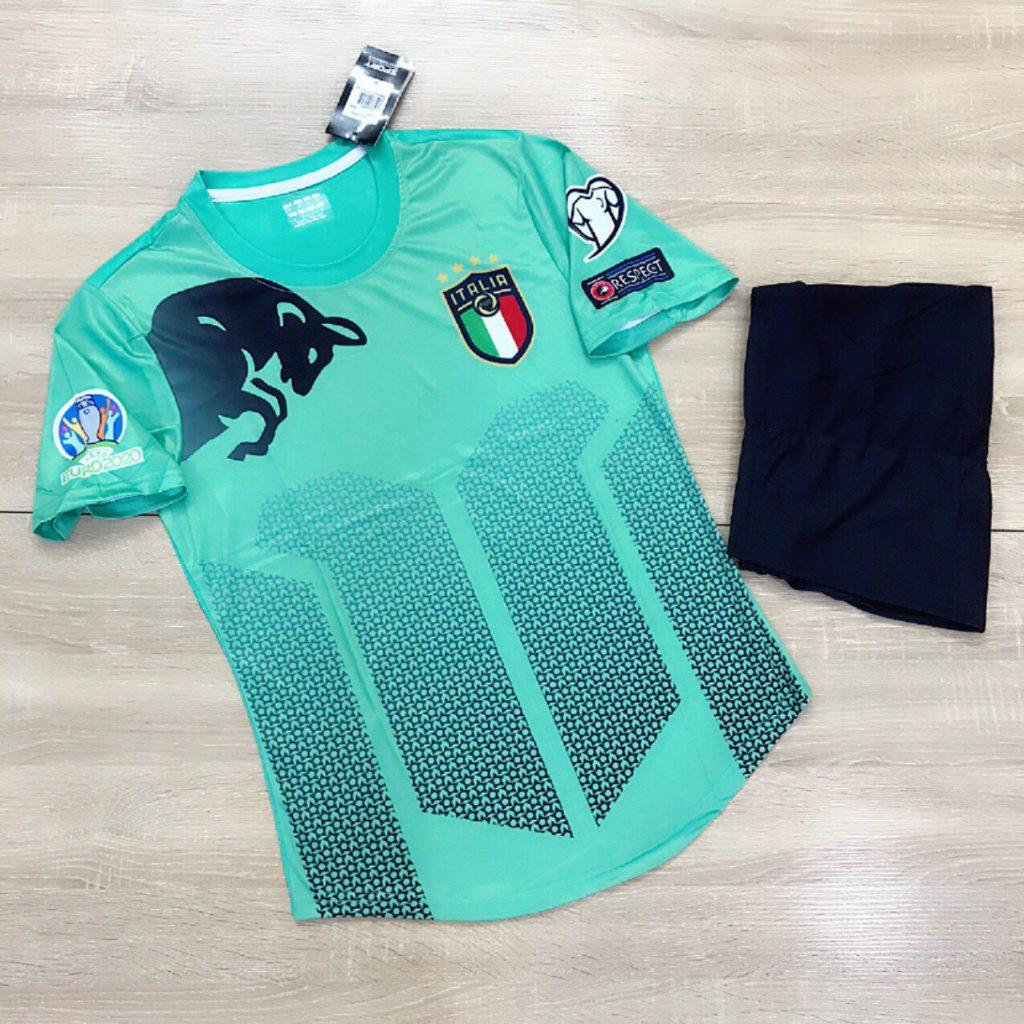 Áo Bóng Đá Đội Tuyển Italia Vải Thun Cao Cấp Màu Ngọc Mùa 2020-2021