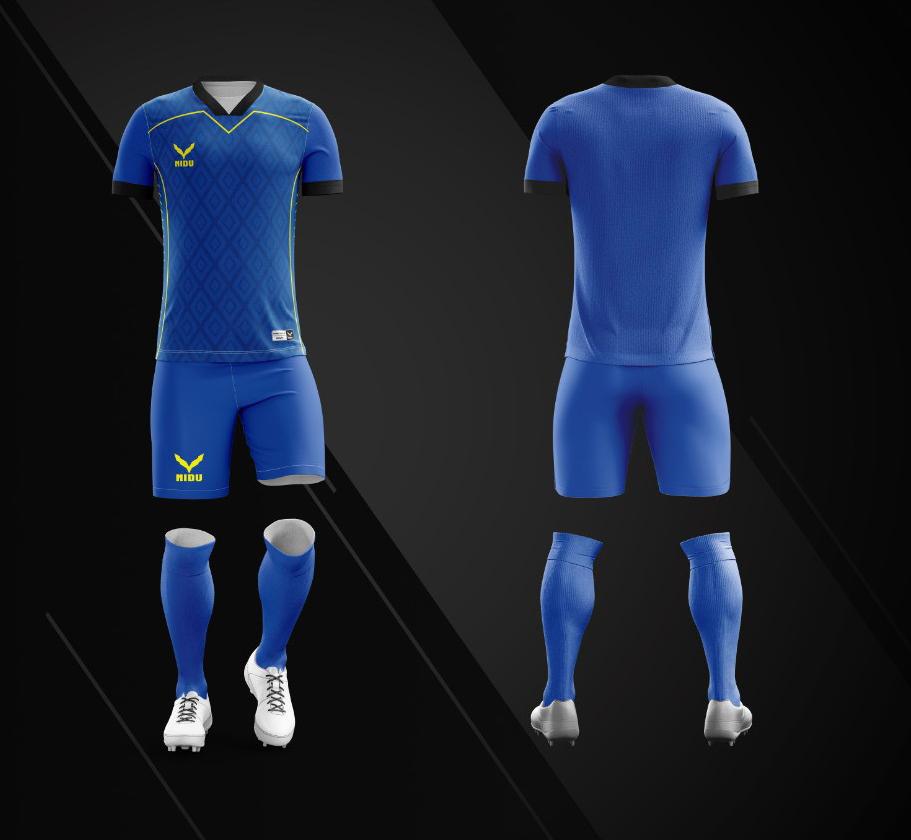 Áo bóng đá không logo Nidu N3 màu xanh dương vải thun thái cao cấp