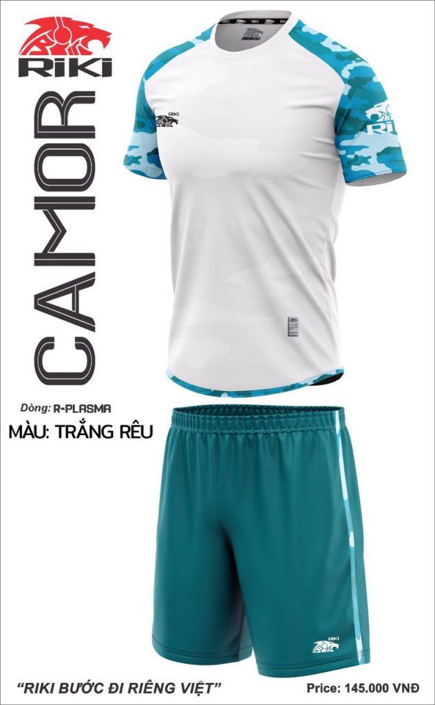 Áo bóng đá không logo Riki Camor màu trắng mới nhất năm 2020