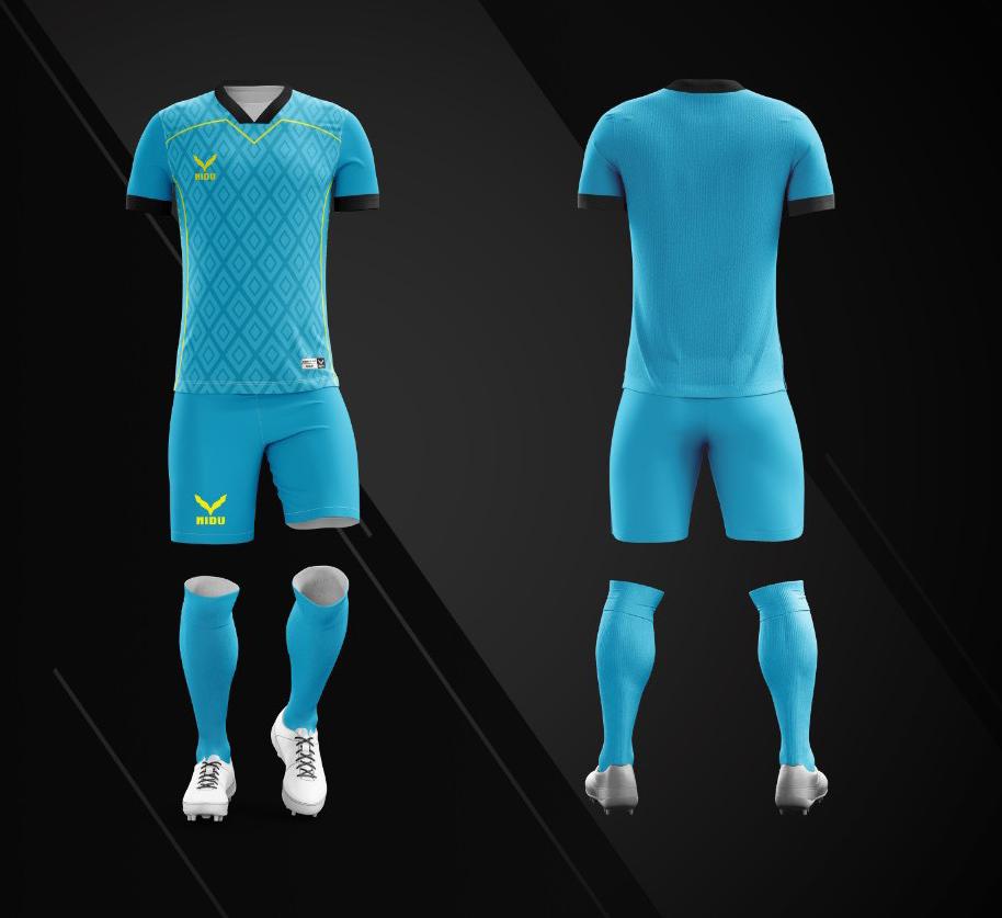 Áo bóng đá không logo Nidu N3 màu xanh da trời vải thun thái cao cấp