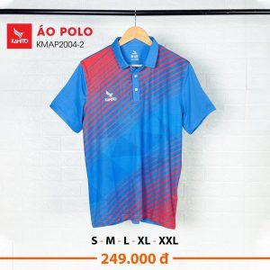 Áo Polo Kamito KMAP2004-2 chính hãng màu xanh phối đỏ
