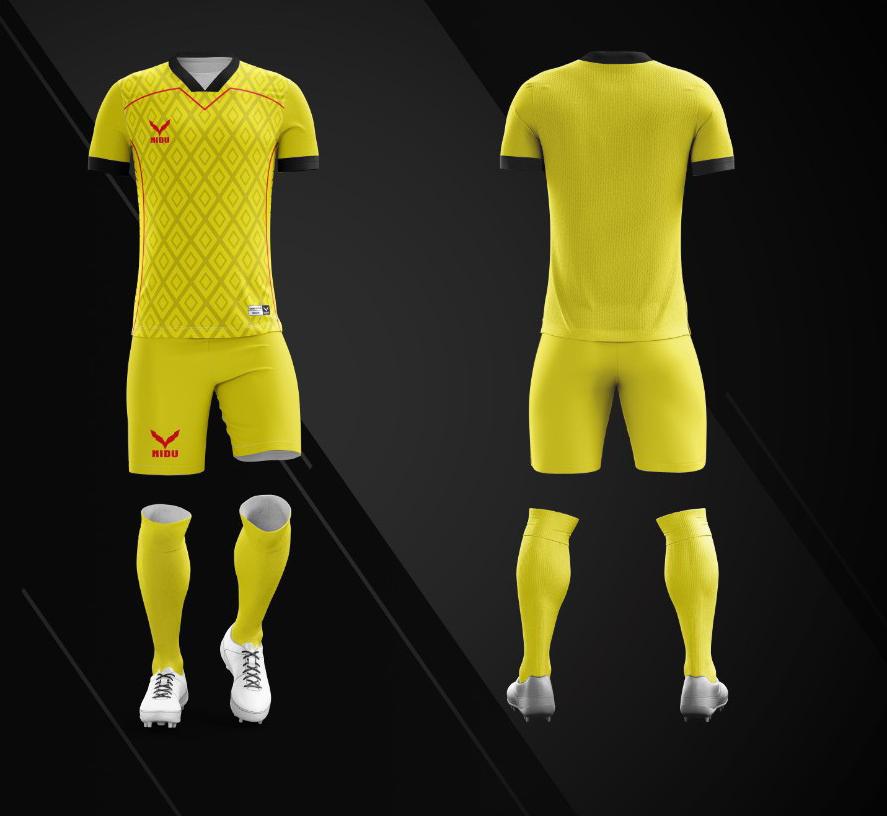 Áo bóng đá không logo Nidu N3 màu vàng vải thun thái cao cấp