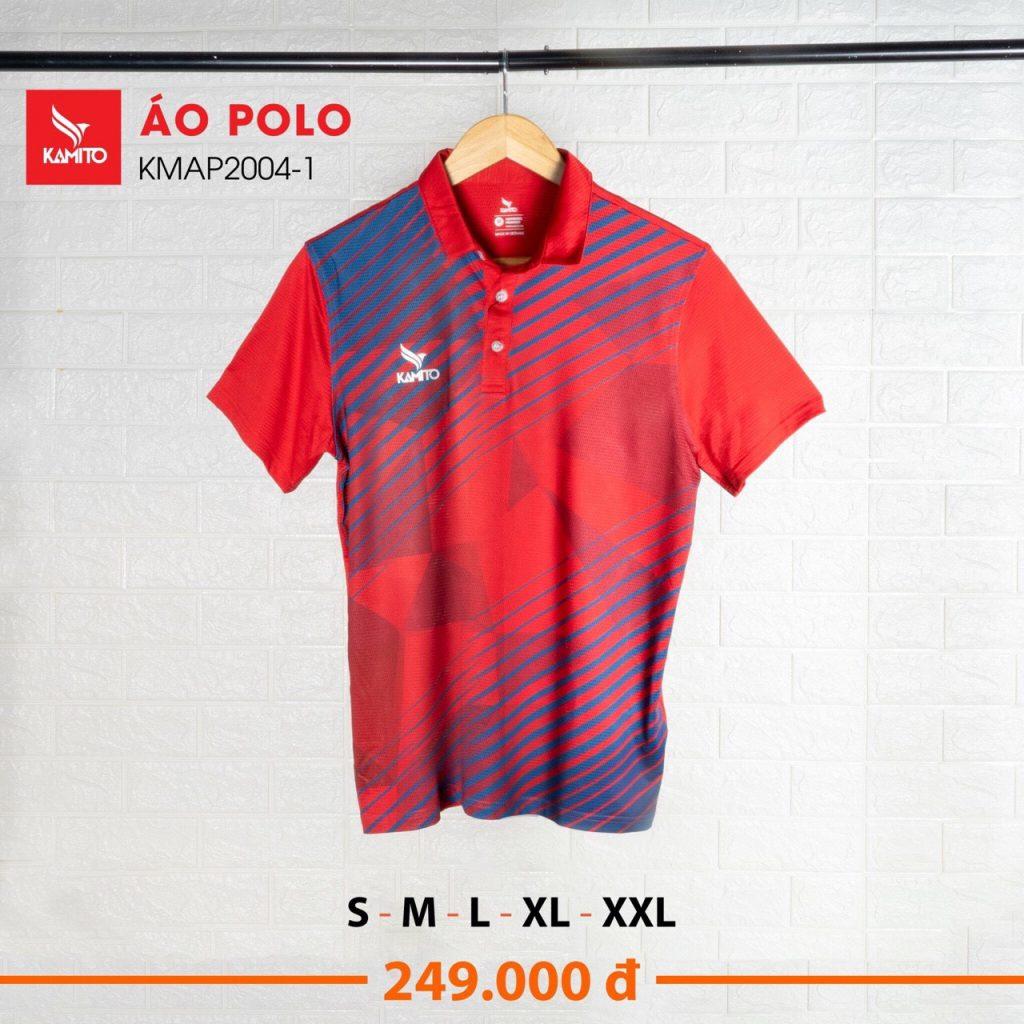 Áo Polo Kamito KMAT2004-1 chính hãng màu đỏ phối xanh