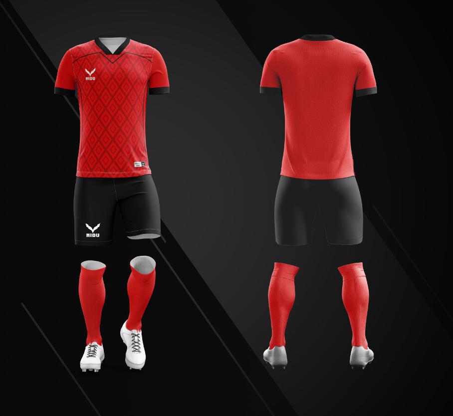 Áo bóng đá không logo Nidu N3 màu đỏ vải thun thái cao cấp