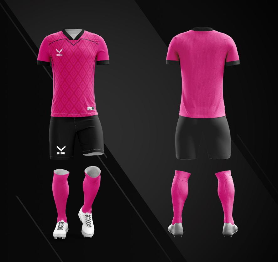 Áo bóng đá không logo Nidu N3 màu hồng vải thun thái cao cấp
