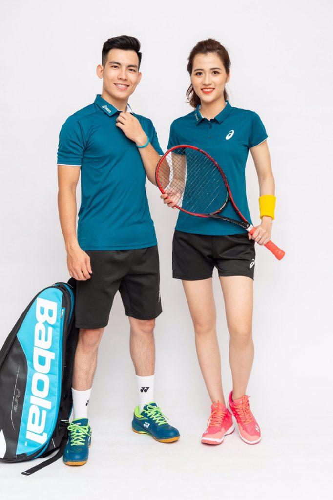 Áo cầu lông, tenis Asics A1 màu xanh lục mới nhất năm 2020
