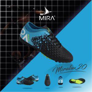Giày bóng  đá  Mira Lux 2.0 màu Đen Phối Xanh Ngọc