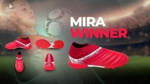Giày bóng đá Mira WINNER không đây, cổ chun màu  Đỏ