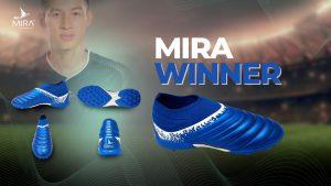 Giày bóng đá Mira WINNER không đây, cổ chun màu Xanh Biển