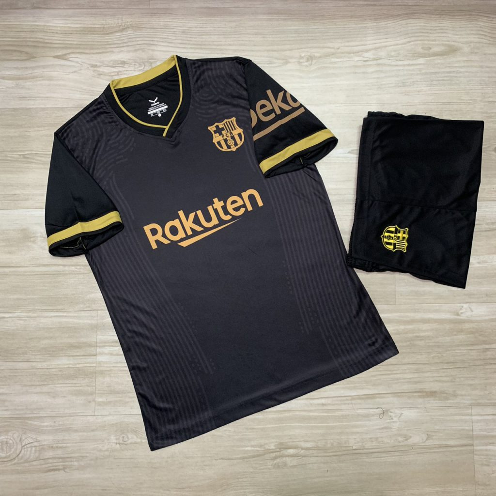 Áo bóng đá thể thao mè thái Clb Barca màu đen