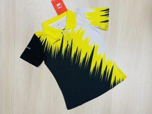 Áo cầu lông nam nữ màu đen phối vàng