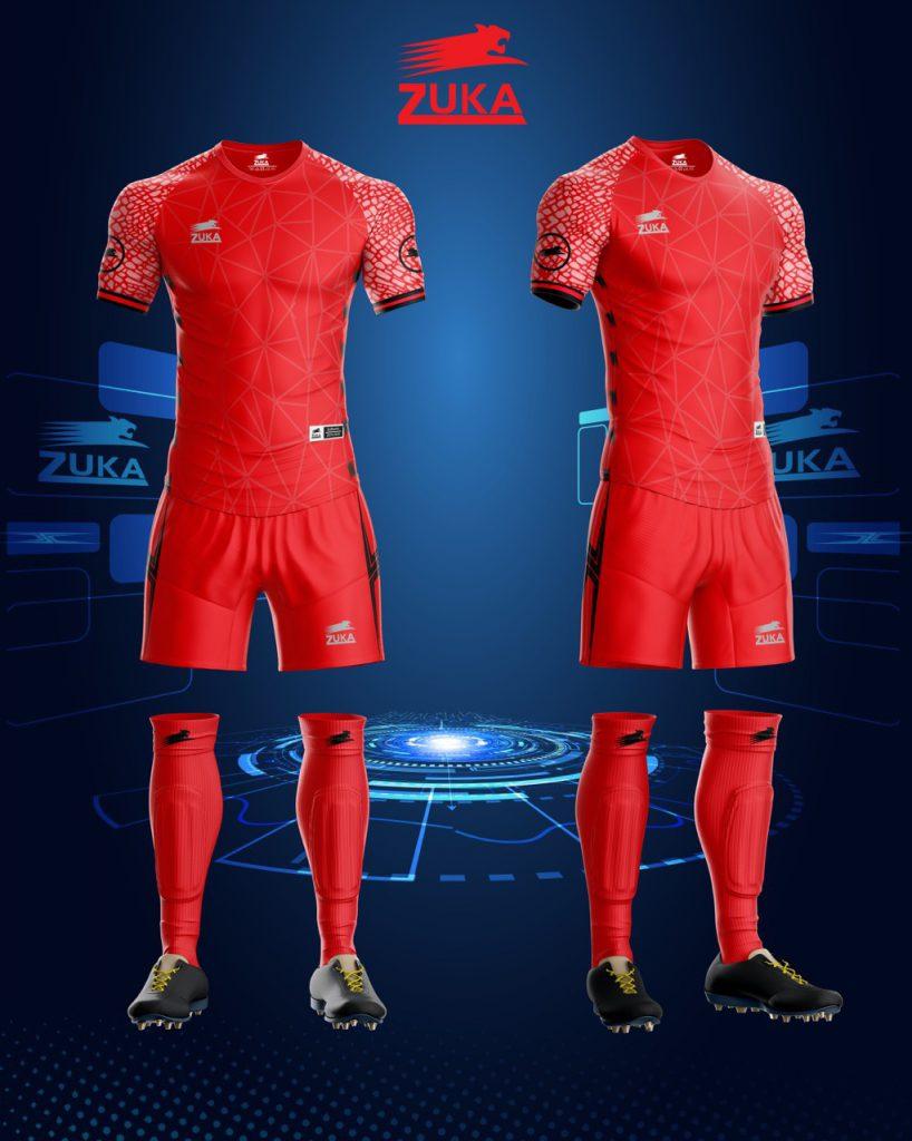Áo bóng đá zuka thun thái cao cấp màu đỏ
