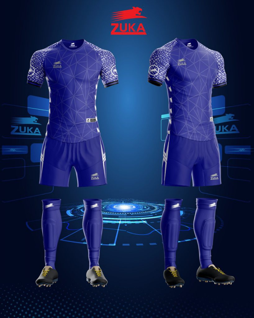 Áo bóng đá zuka thun thái cao cấp màu xanh biển