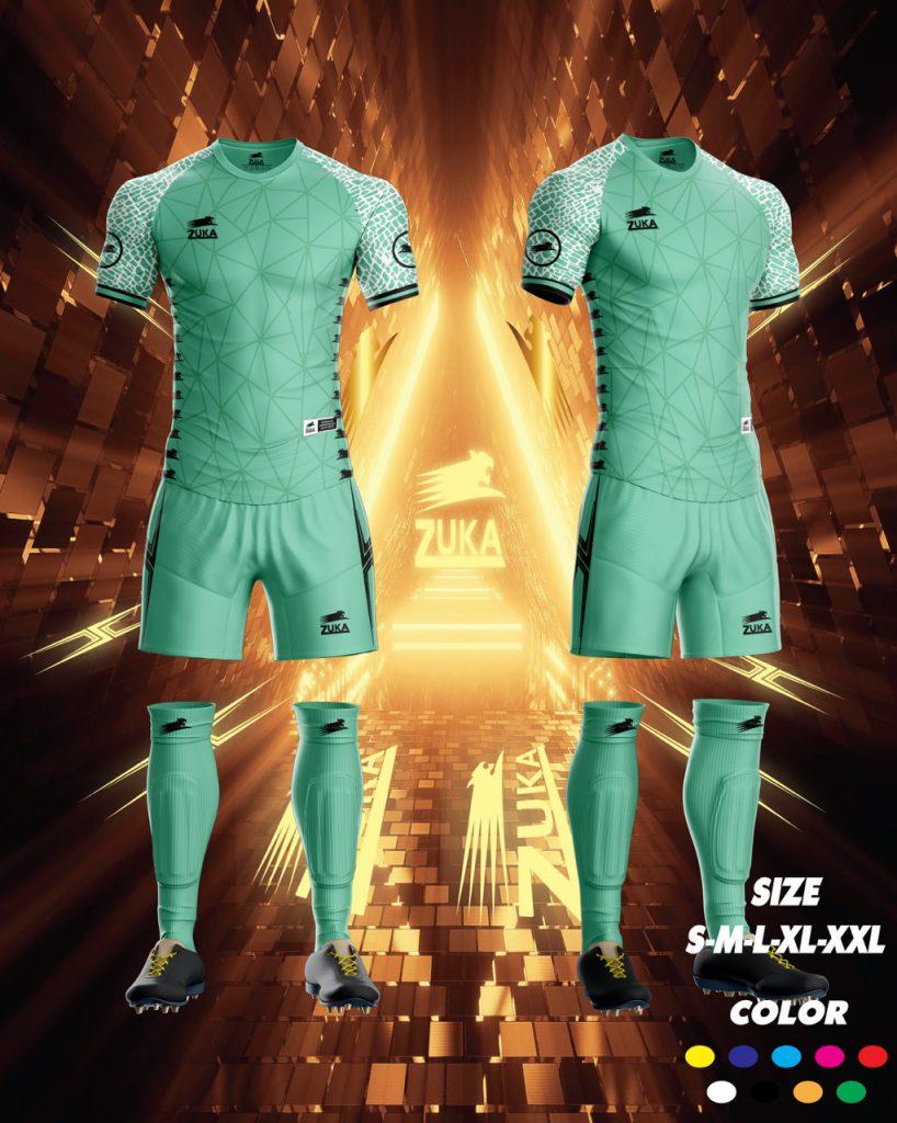Áo bóng đá zuka thun thái cao cấp màu xanh lá