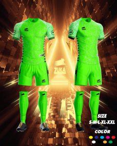 Áo bóng đá zuka thun thái cao cấp màu xanh lá mạ