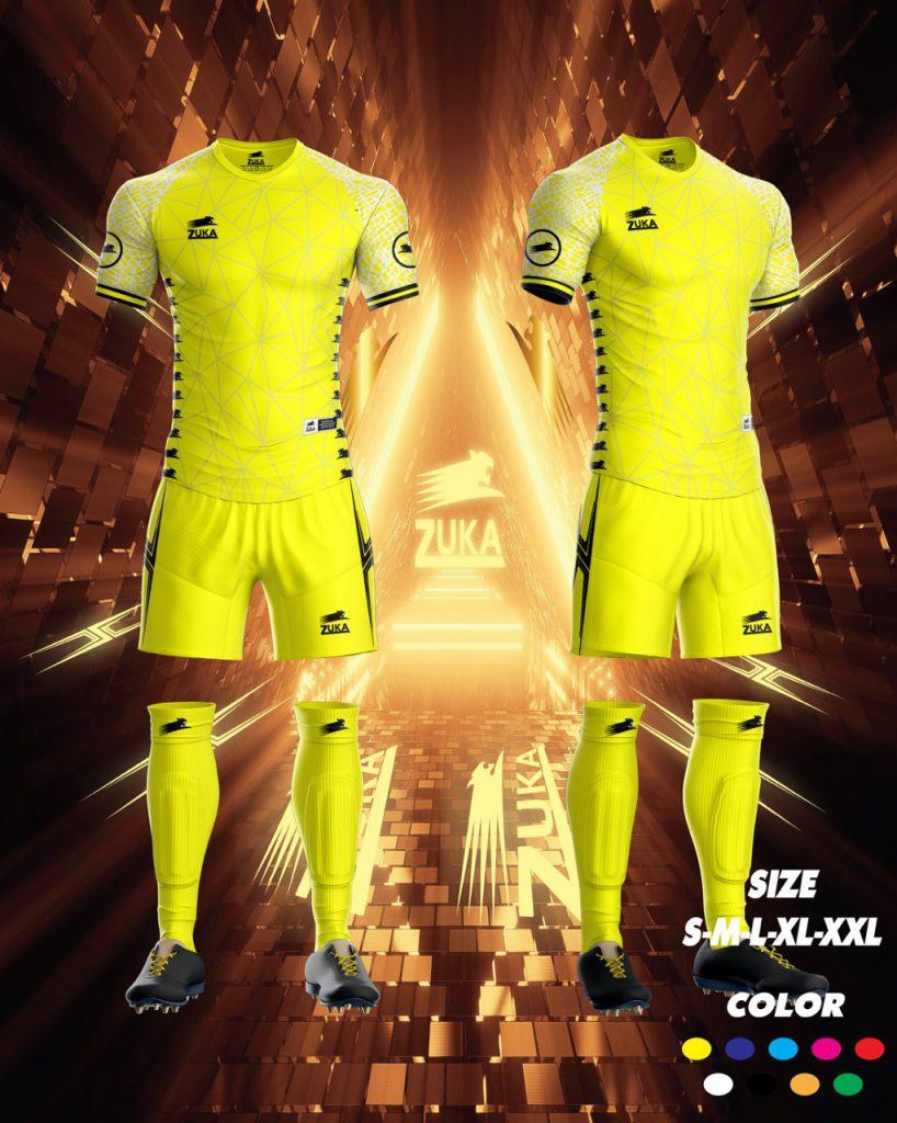 Áo bóng đá zuka thun thái cao cấp màu vàng
