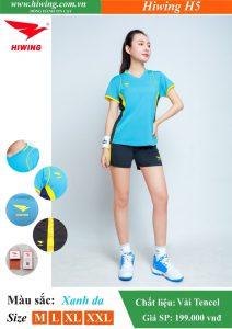 Áo bóng chuyền Nữ Hiwing FIVE – H5 chính hãng màu Xanh Da