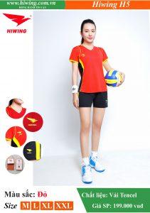 Áo bóng chuyền Nữ Hiwing FIVE – H5 chính hãng màu đỏ