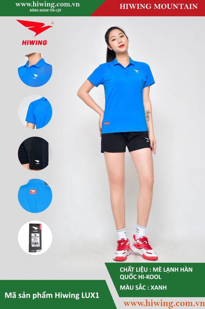 Áo cầu lông nữ chính hãng Hiwing Mountain Lux 1 màu Xanh