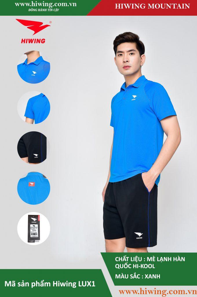 Áo cầu lông nam chính hãng Hiwing Mountain Lux 1 màu Xanh