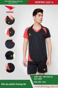 Áo bóng chuyền nam chính hãng HIWING mã H6 màu đen